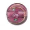Glass Lamp Bead 12mm Round Amethyst/Rose